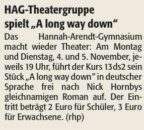 "HAG-Theatergruppe spielt ""A long way down"""